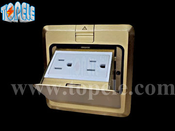 Square Panel Copper / Round Aluminum Aloy POP-up Type Floor Socket GFCI Receptacles OEM